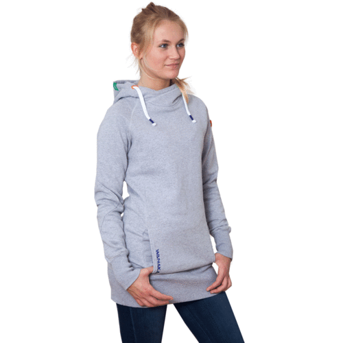 WAIUKA - Long Hoodie - Light Grey Melange