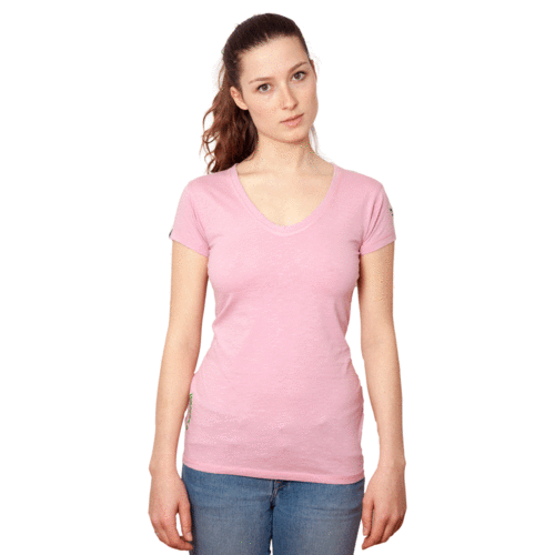TIMARU - Tee Shirt Round-V-Neck - Think Pink