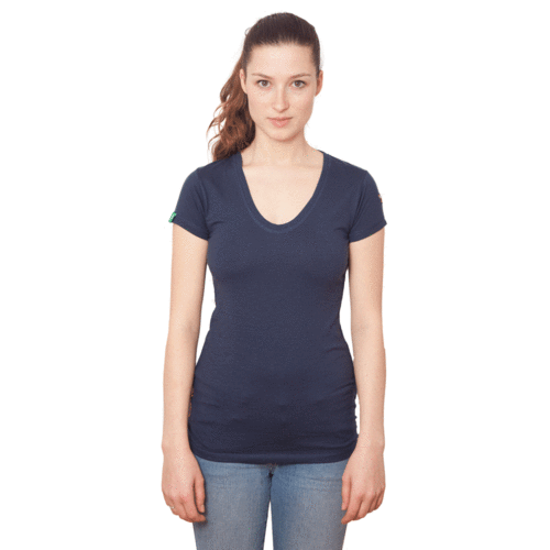 TIMARU - Tee Shirt Round-V-Neck - Eclipse Blue