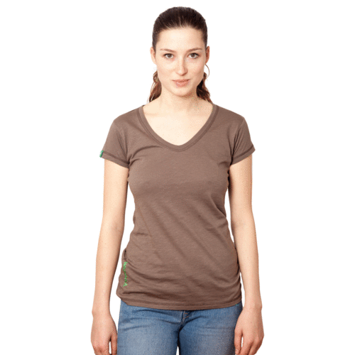 TIMARU - Tee Shirt Round-V-Neck - Mud