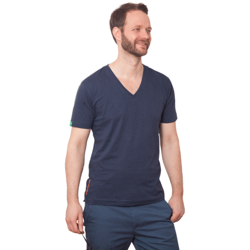TAUPO - Tee Shirt V-Neck - Pacific Blue