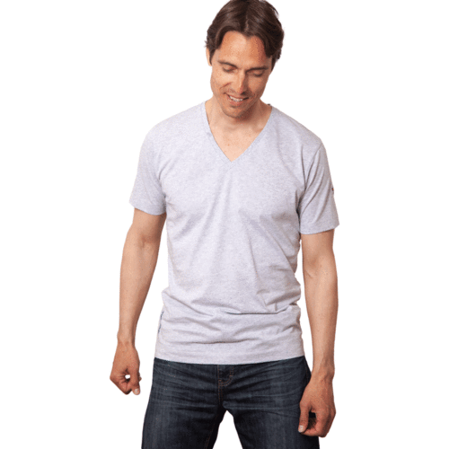 TAUPO - Tee Shirt V-Neck - Dust Grey Melange