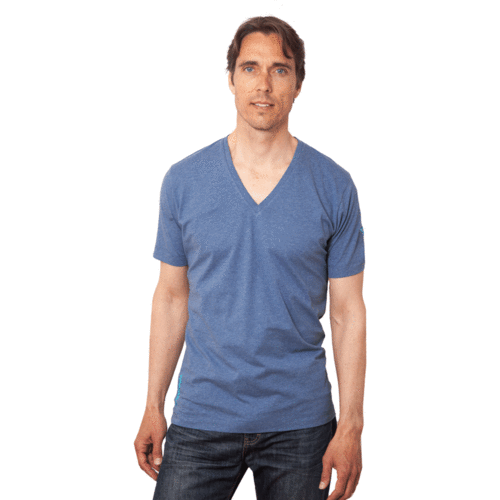 TAUPO - Tee Shirt V-Neck - Cloud Blue Melange
