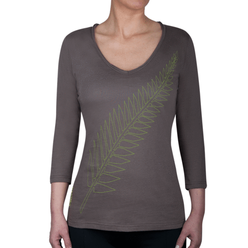 GLENTI 3/4 - Tee Shirt Deep-V-Neck - Mud